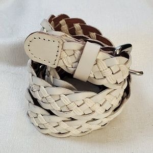 LOFT White Braided Rope Belt sz M #1296